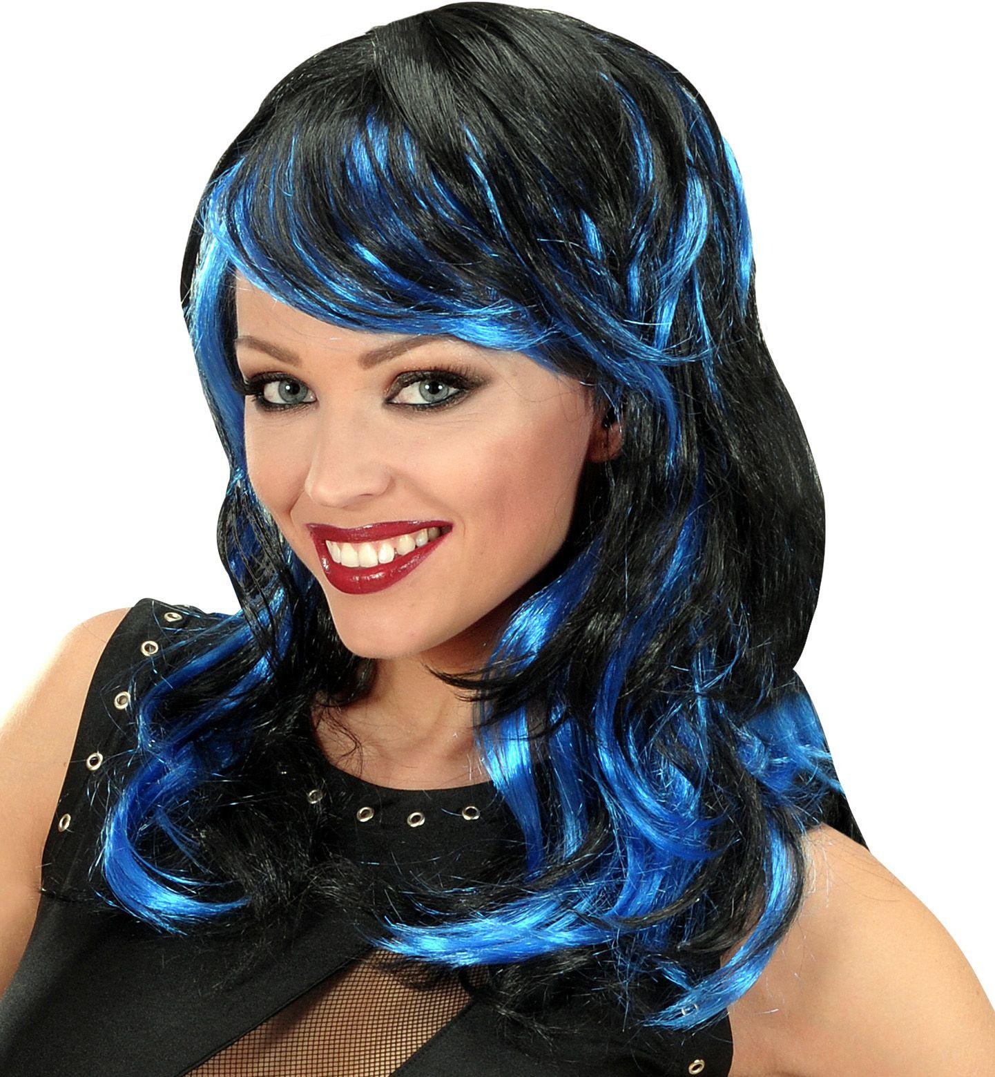 Zwart-blauwe golvende pruik