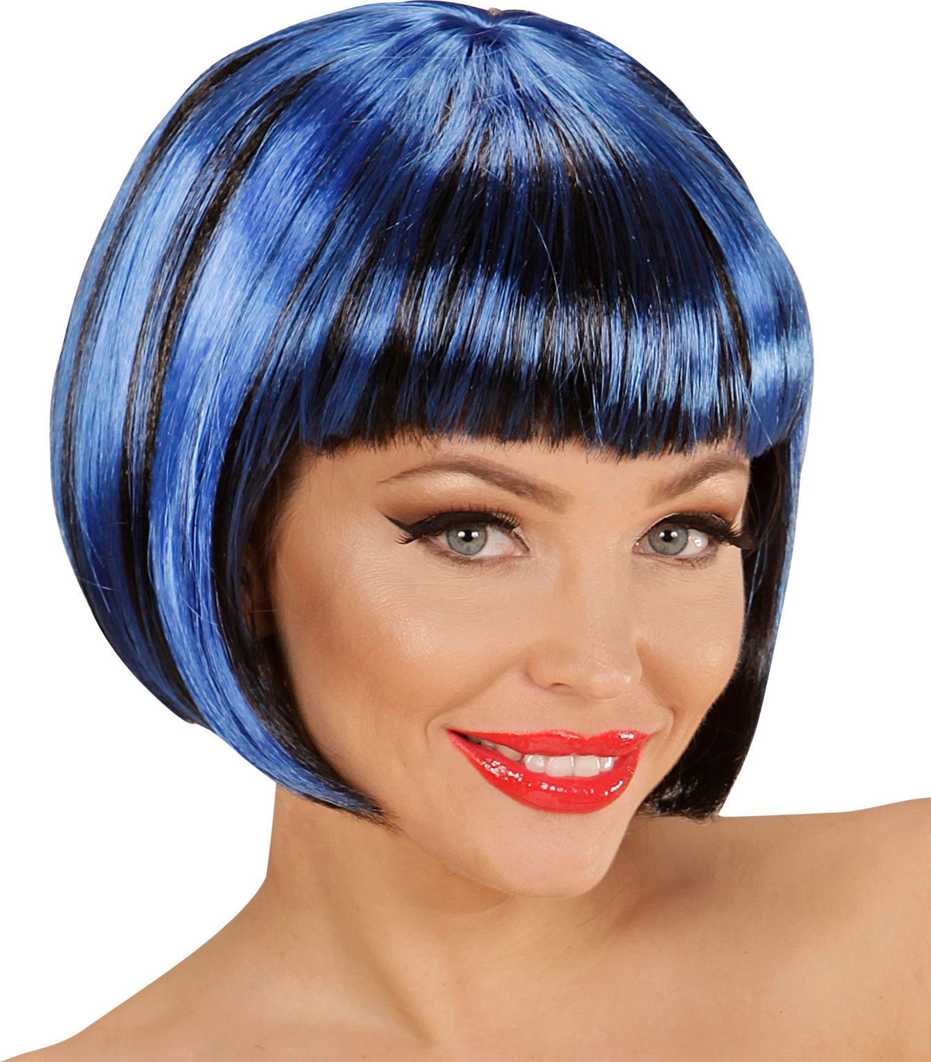 Zwart-blauwe nette disco pruik