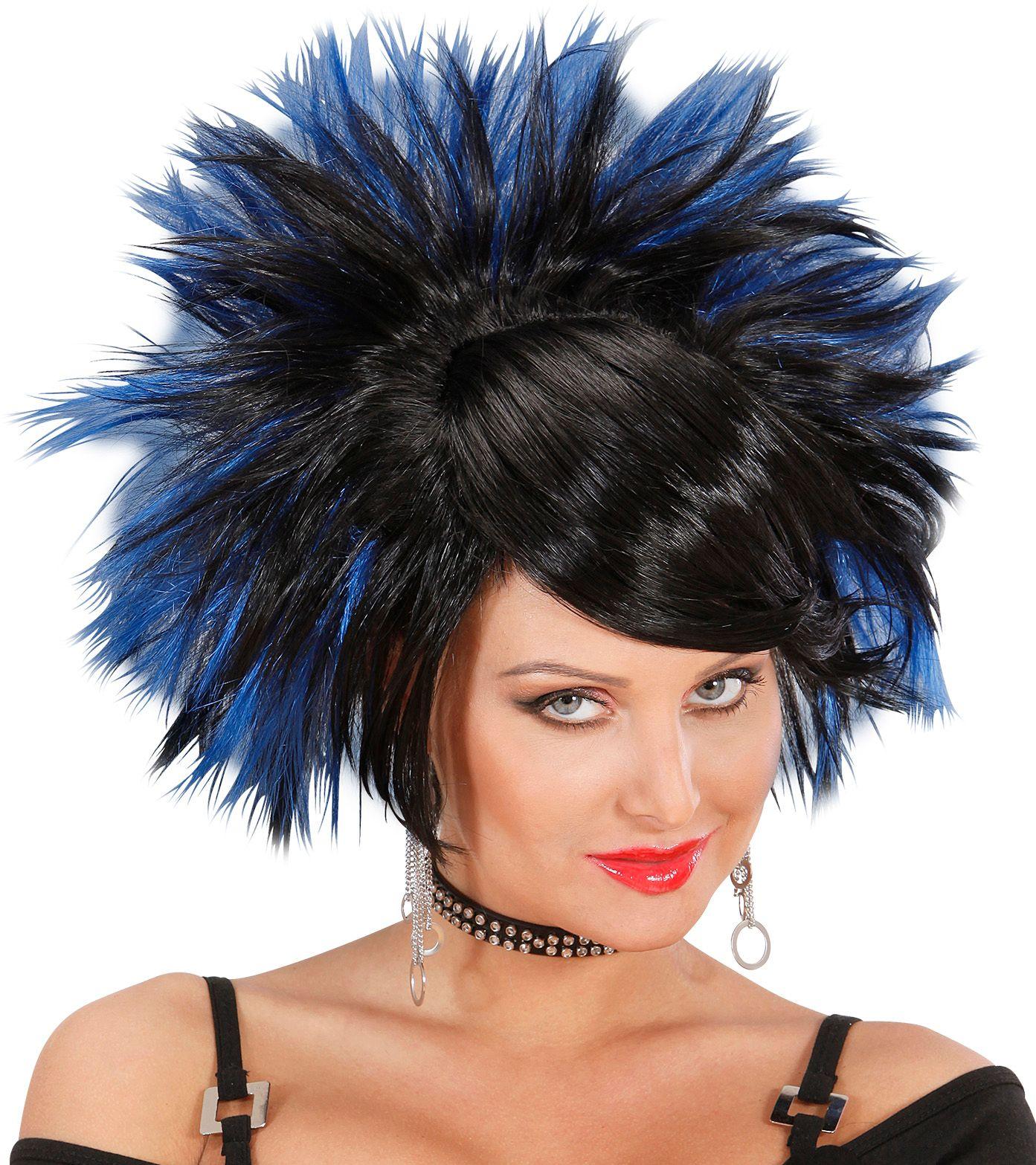 Zwart blauwe rock pruik