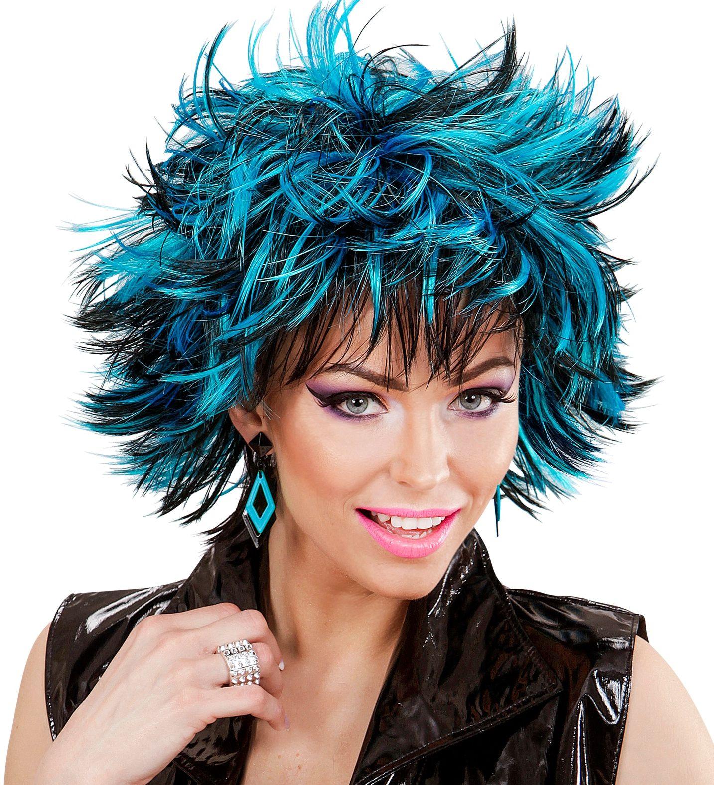 Zwart-blauwe wilde disco pruik