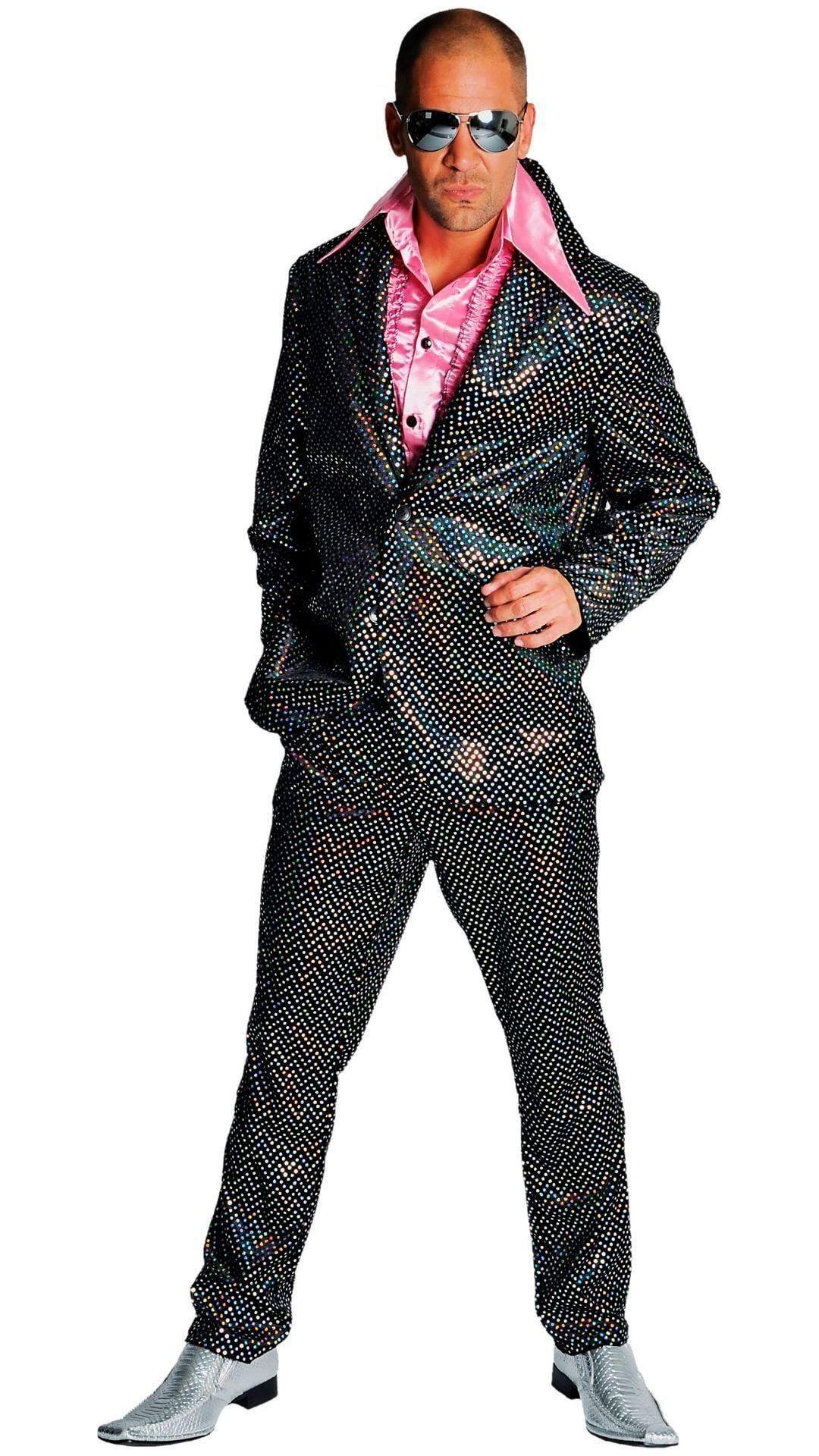 Zwart disco glitter pak heren