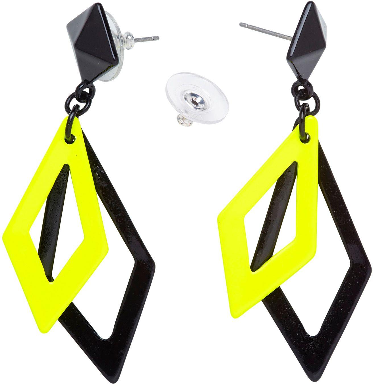 Zwart en neon gele ruit oorbellen
