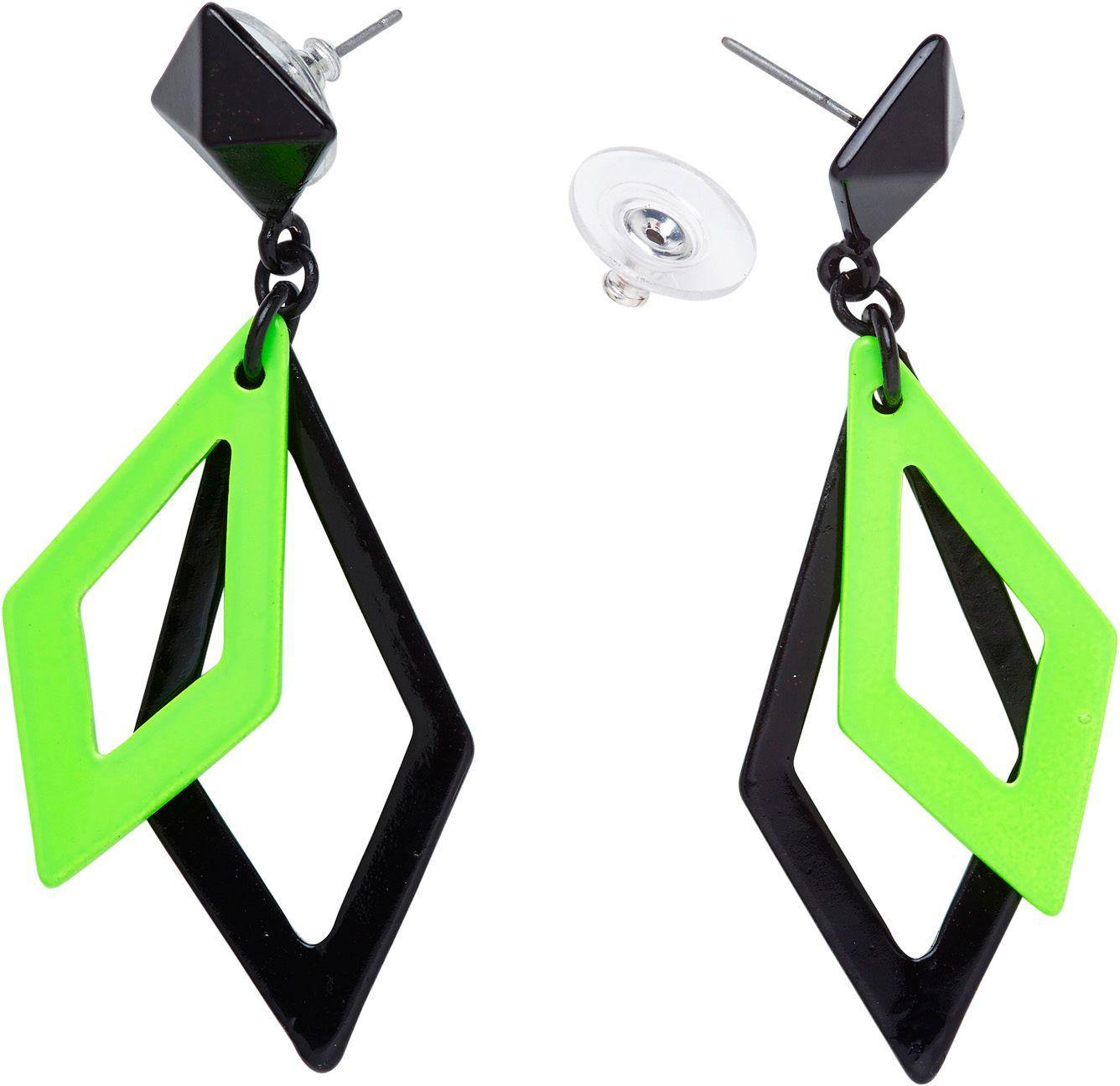 Zwart en neon groene ruit oorbellen