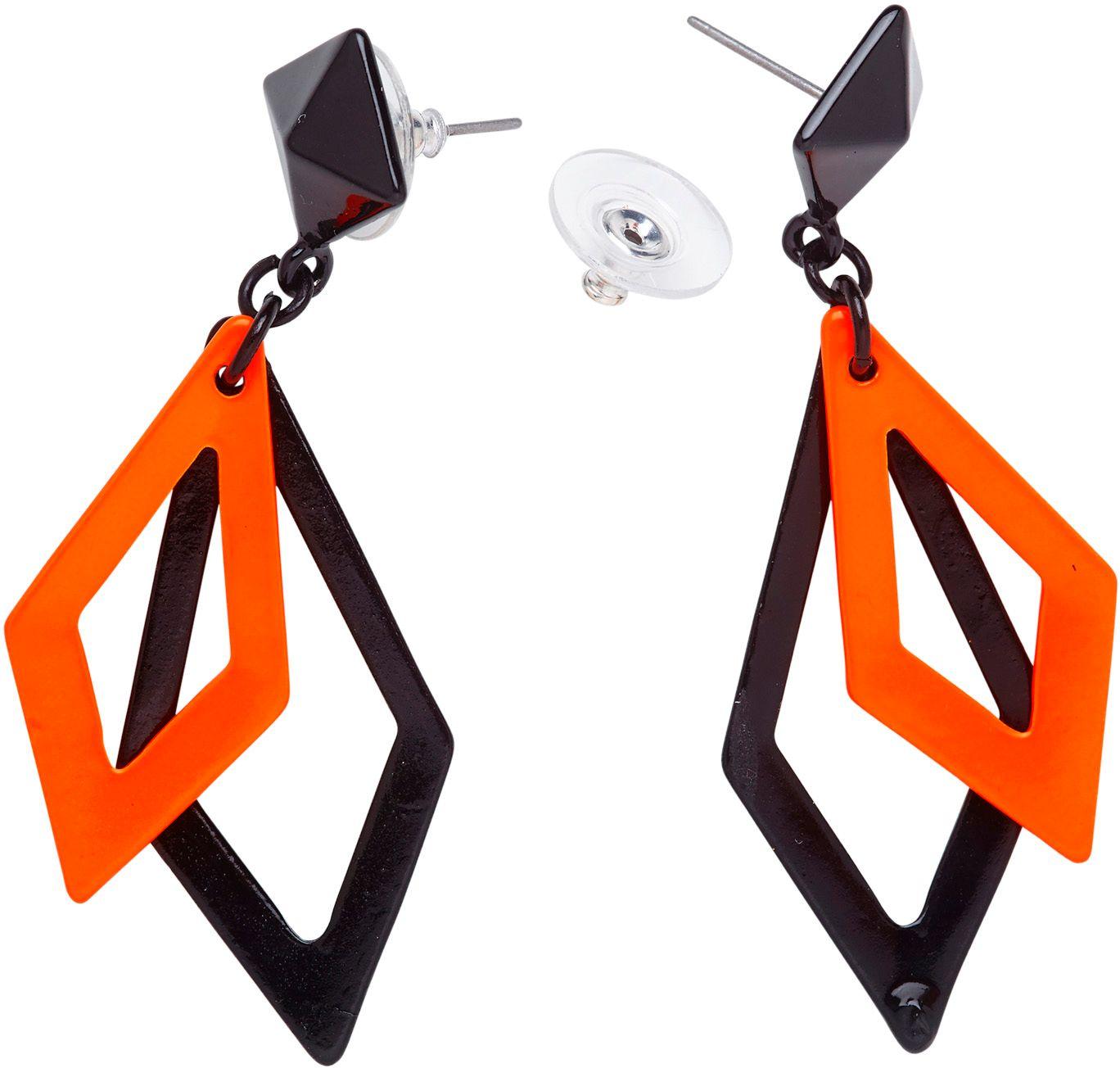 Zwart en neon oranje ruit oorbellen