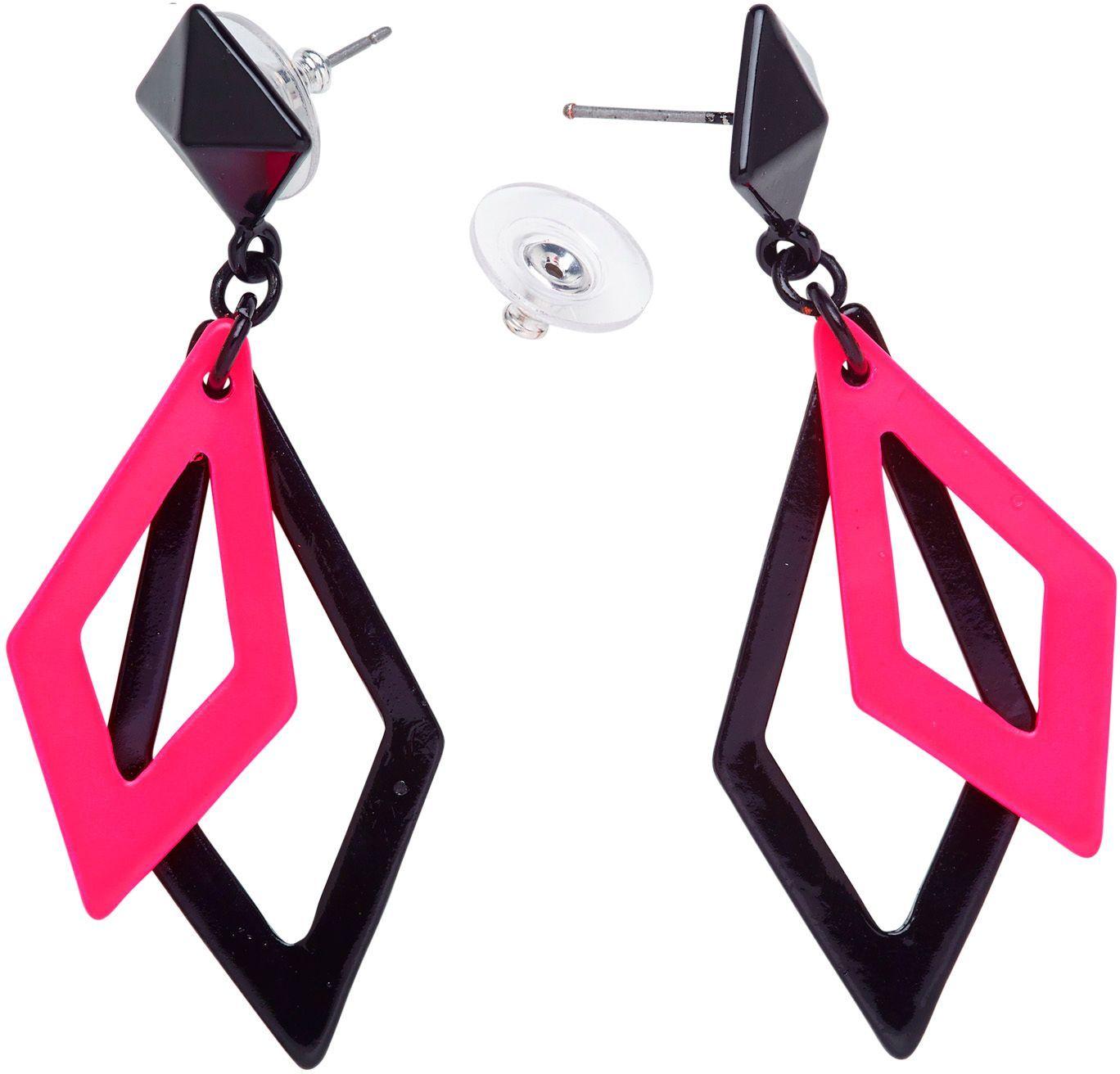 Zwart en neon roze ruit oorbellen