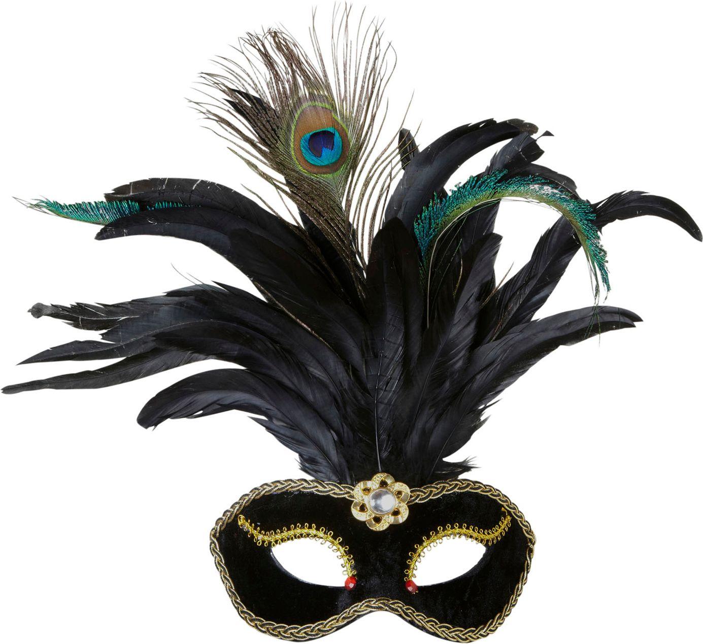 Zwart fluwelen oogmasker met veren