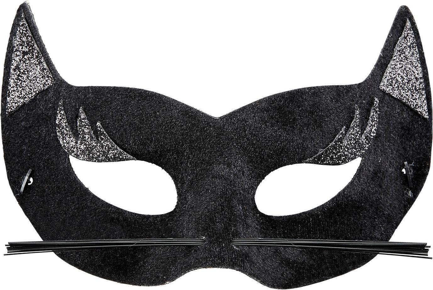 Zwart fluwelen panter oogmasker