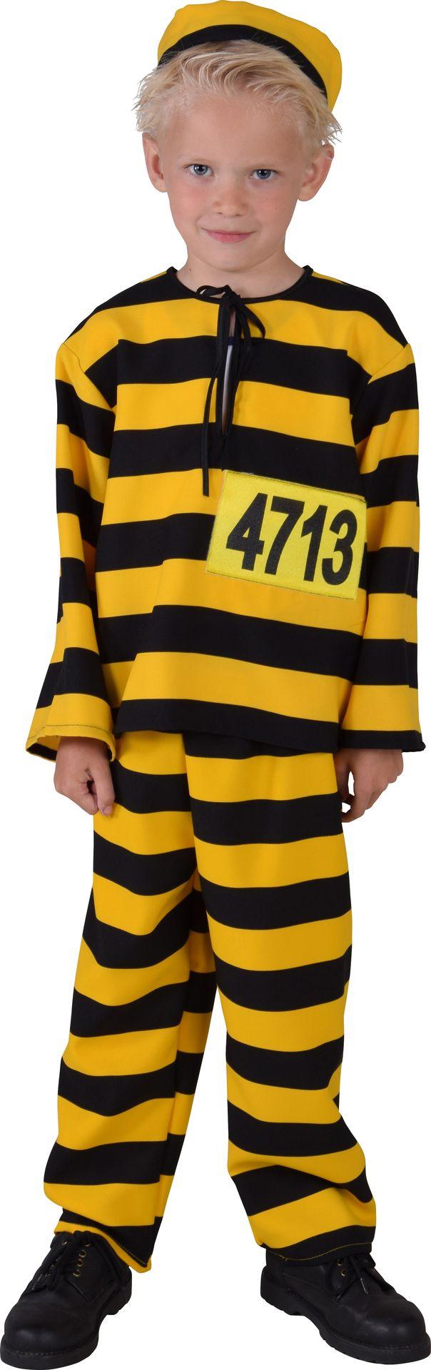 Zwart geel boeven kostuum kinderen