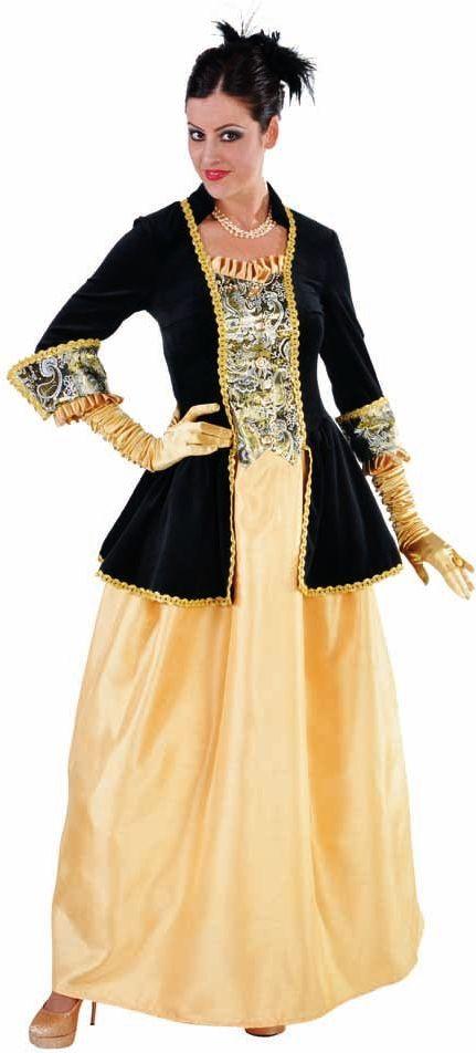 Zwart gele markiezin jurk dames