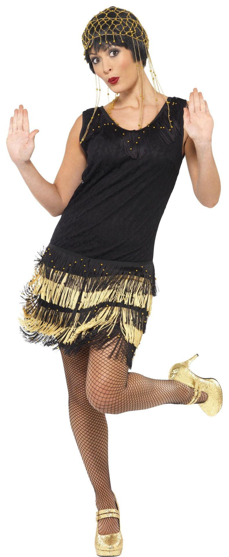 Zwart gouden flapperjurk