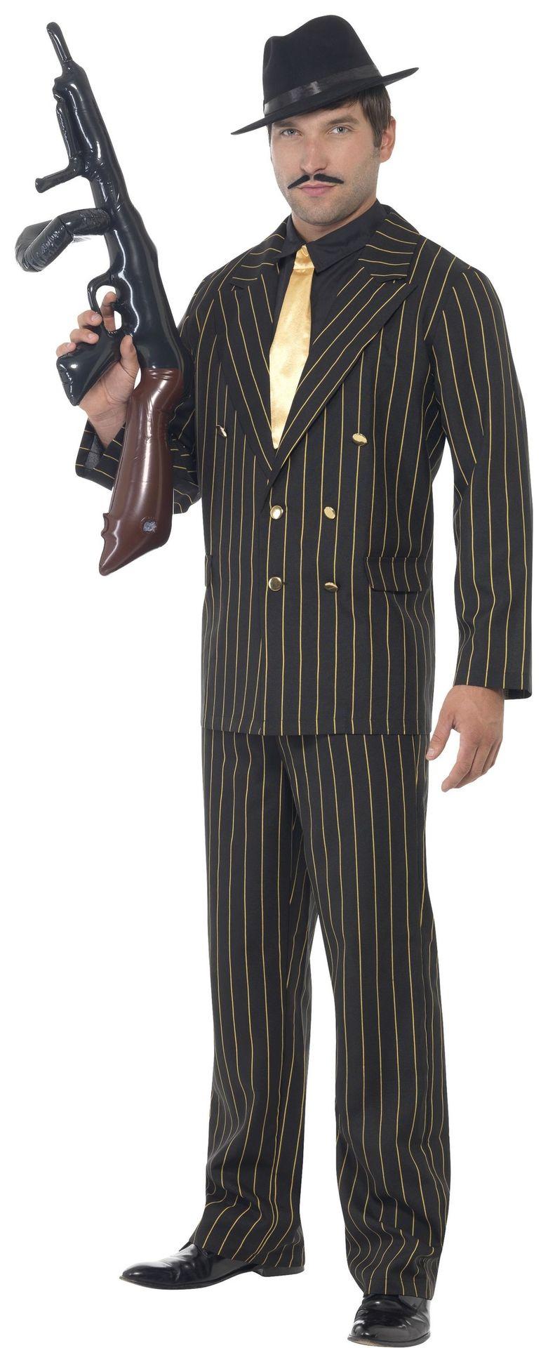 Zwart gouden gangster pak