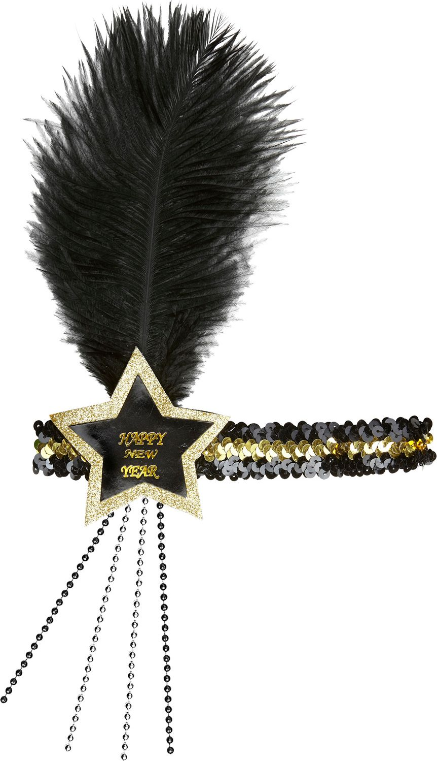 Zwart-gouden pailletten Happy New Year ster hoofdband