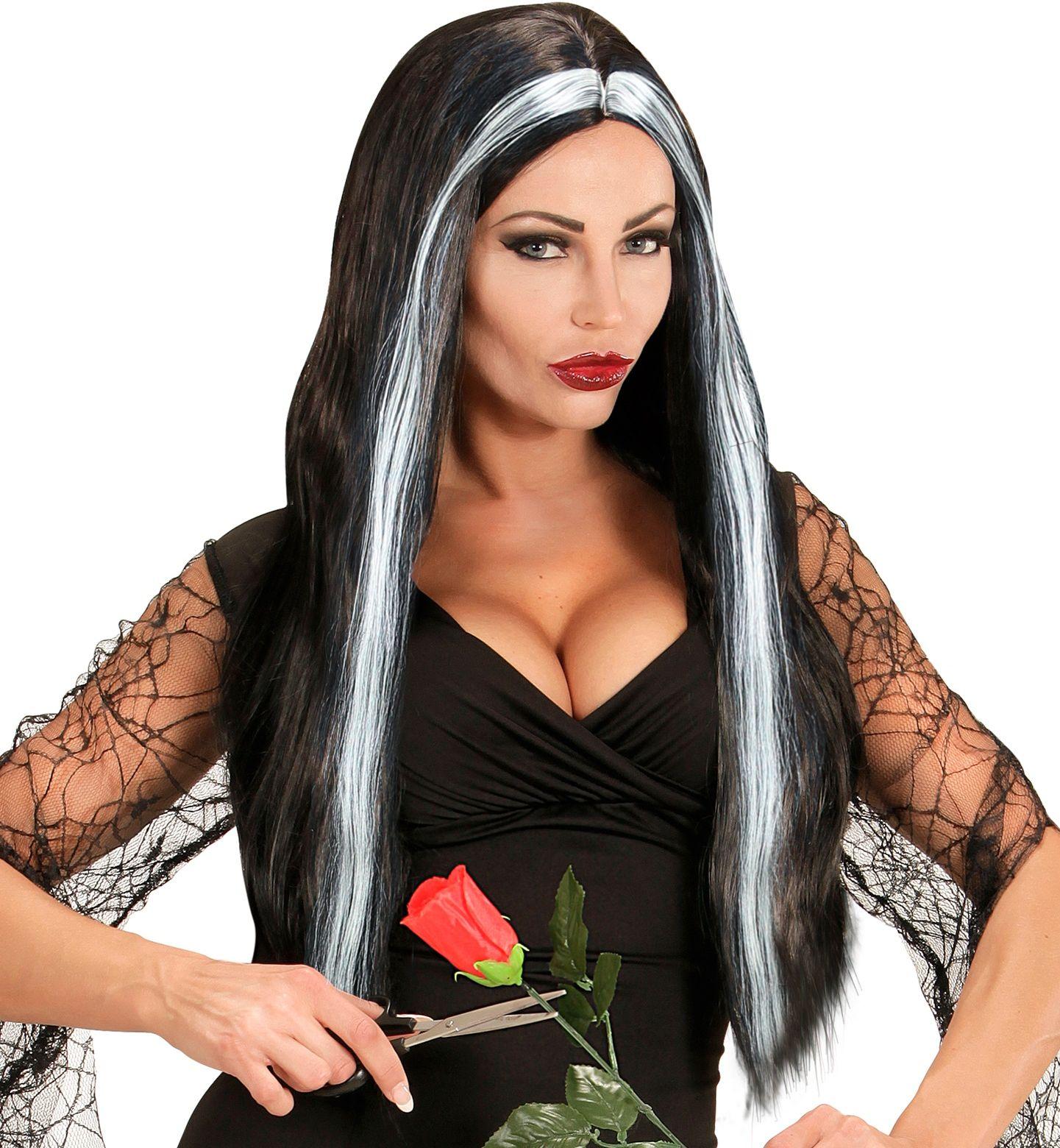 Zwart grijze lange heksen pruik
