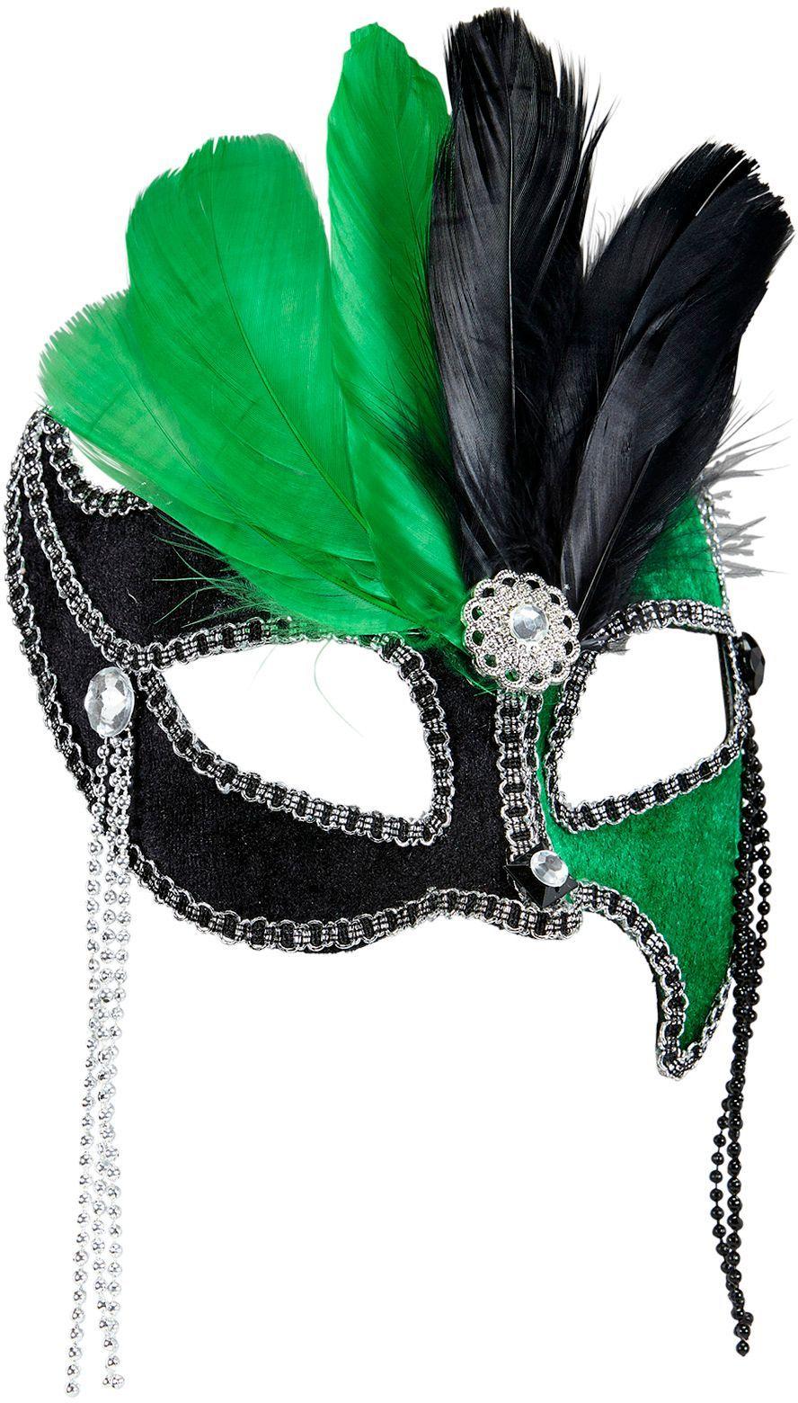 Zwart-groen gala oogmasker