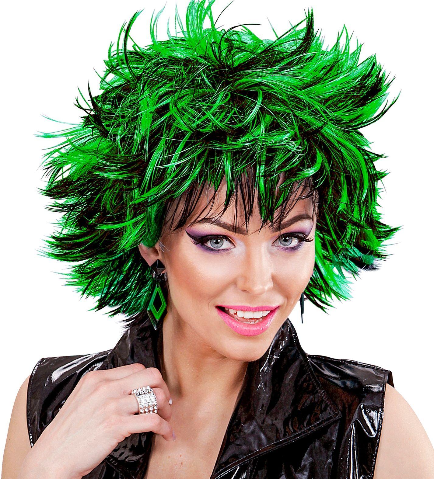 Zwart-groene wilde pruik