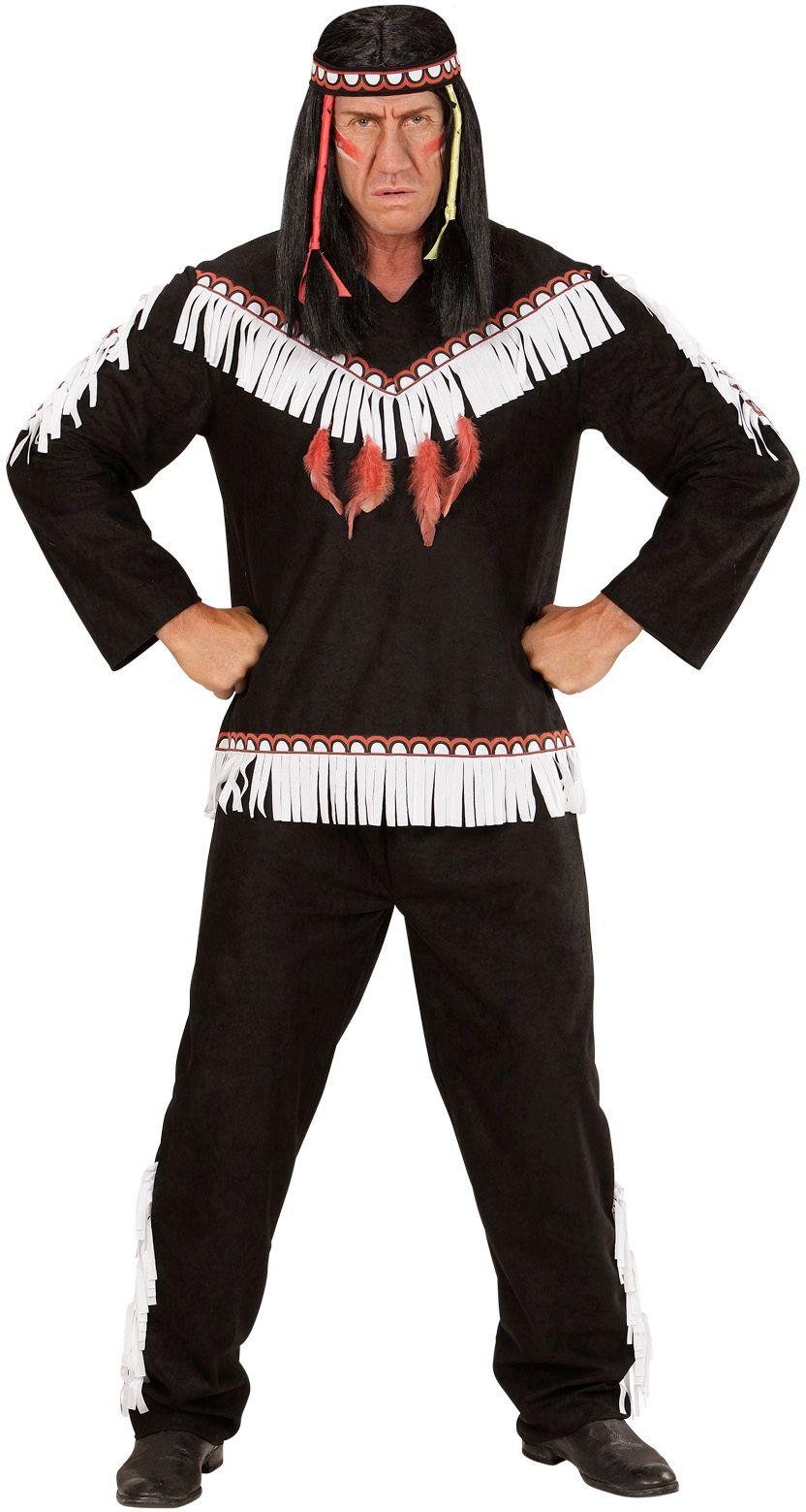 Zwart indianen pak man