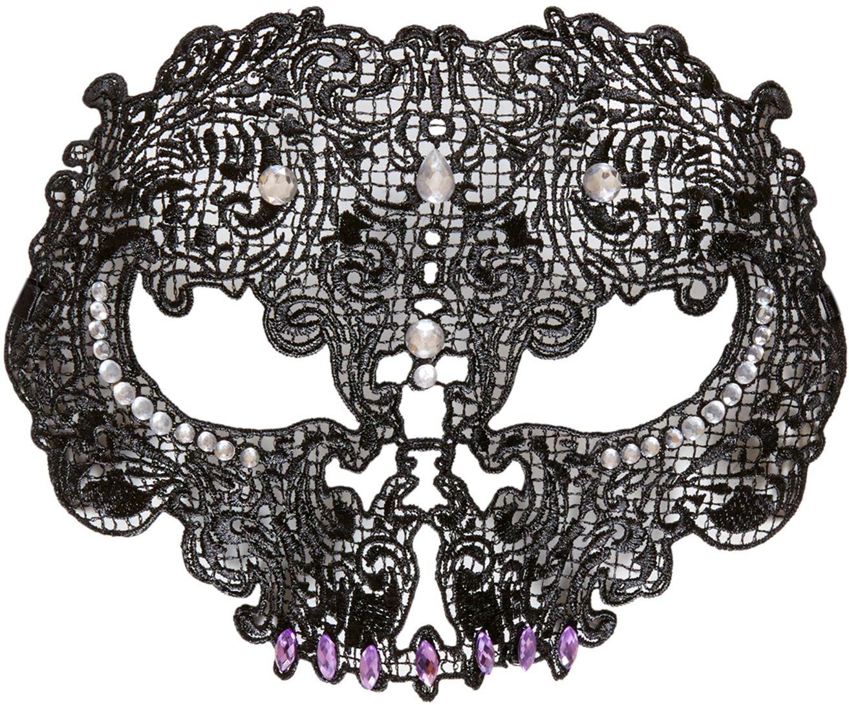 Zwart kanten schedel masker
