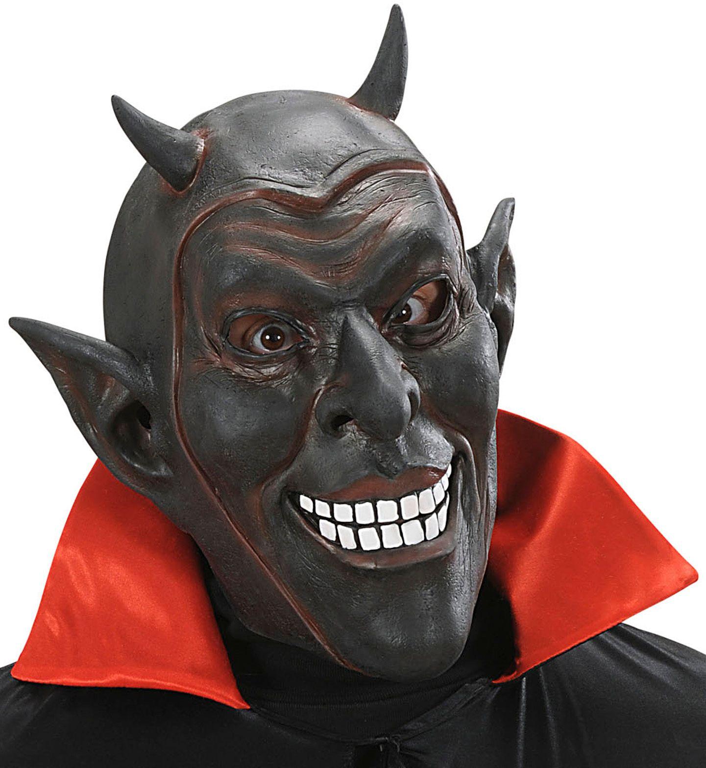 Zwart lachend duivel masker