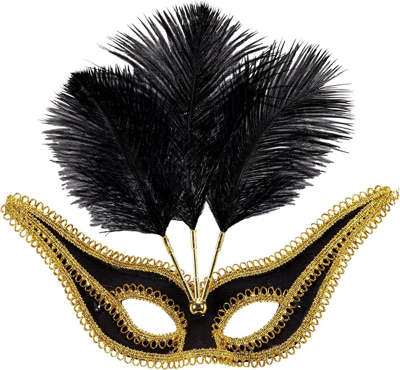 Zwart oogmasker met gouden rand en veren