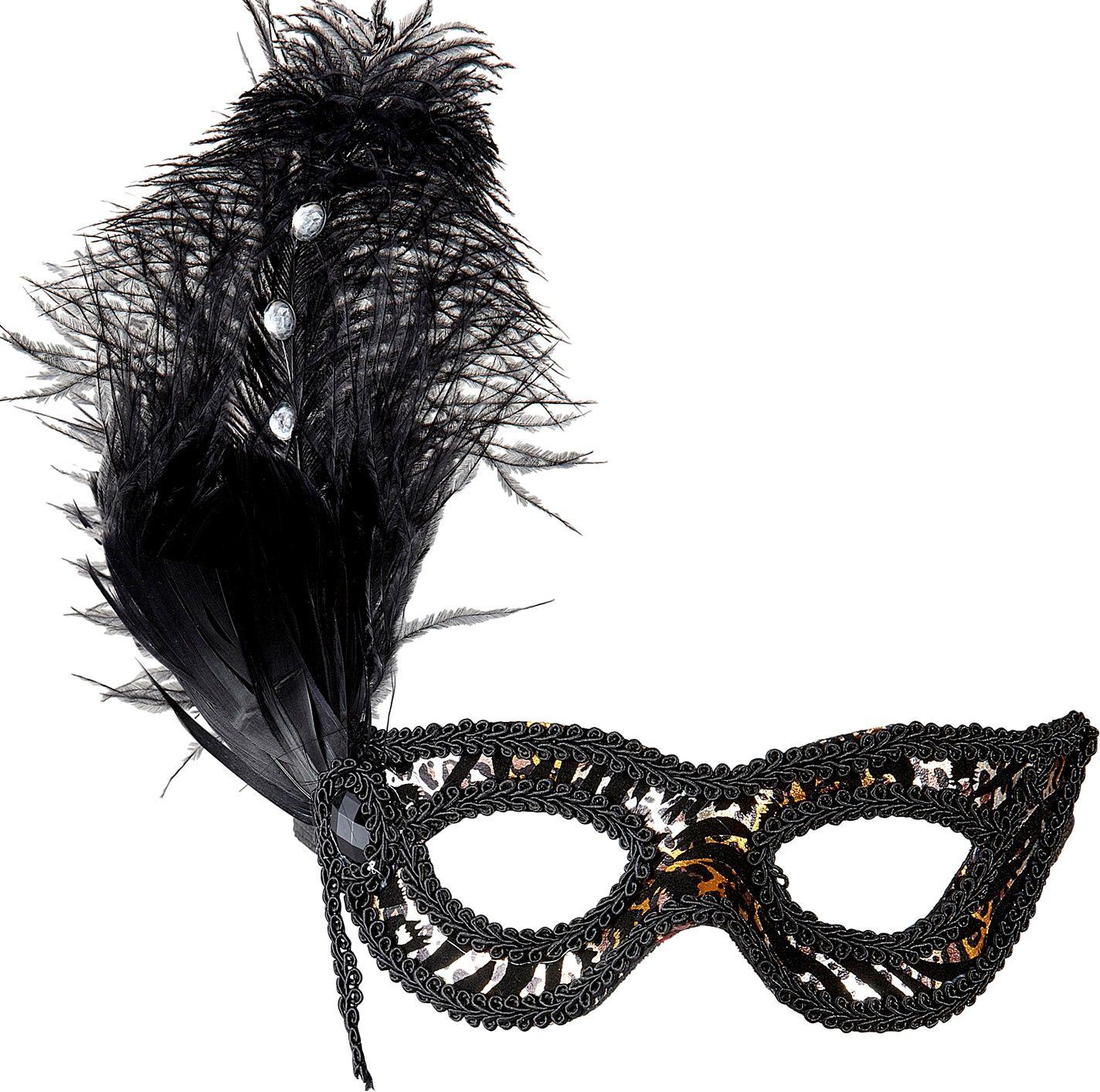 Zwart oogmasker met luipaard print