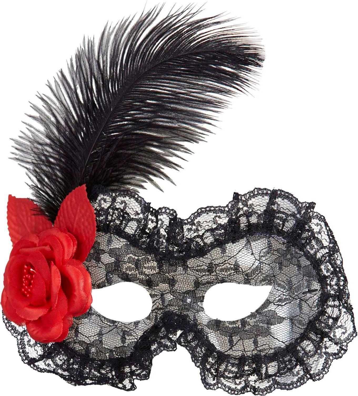 Zwart oogmasker met roos en veer