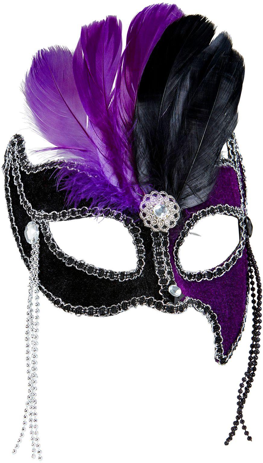Zwart-paars gala oogmasker