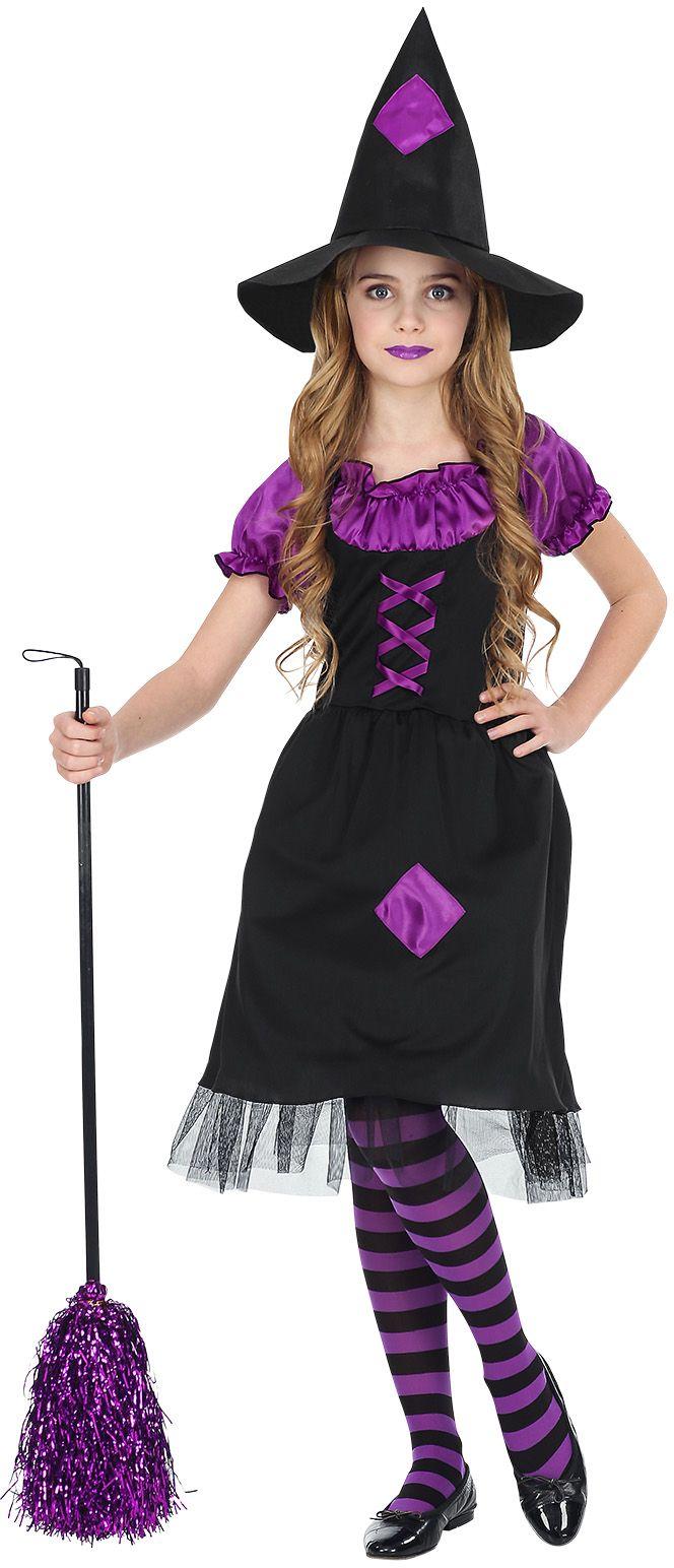 Zwart paars heksen pakje meisjes