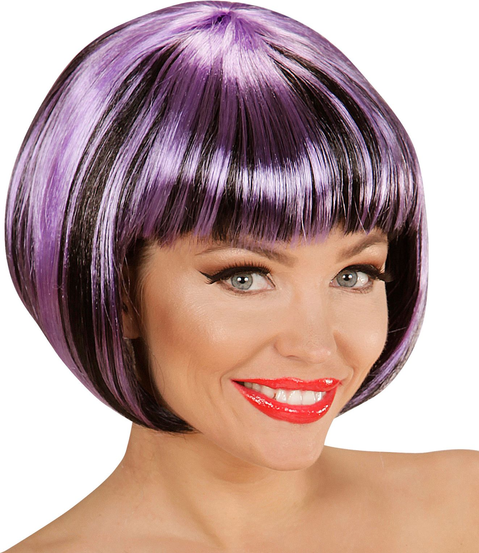 Zwart-paarse nette disco pruik