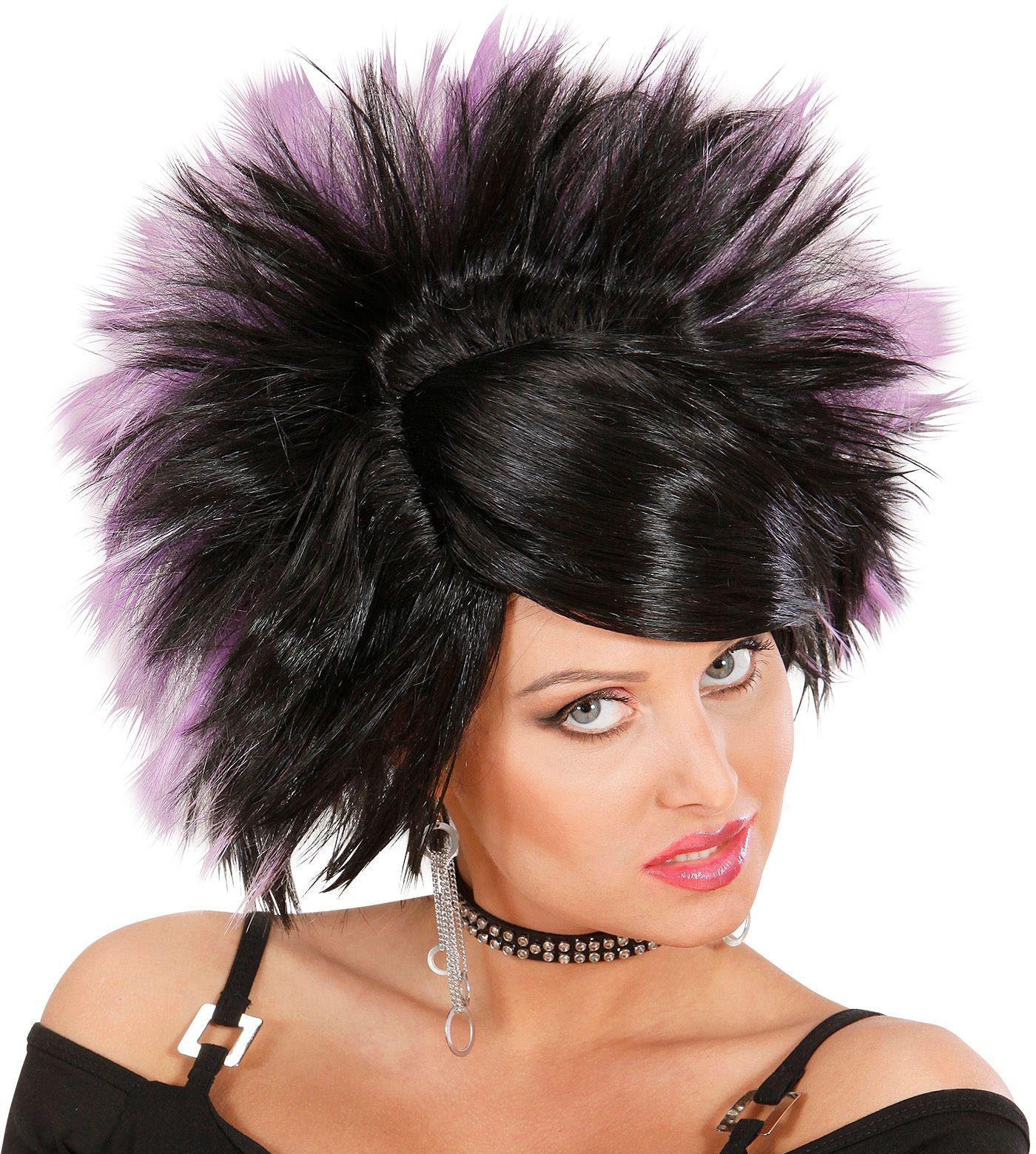 Zwart paarse rock pruik
