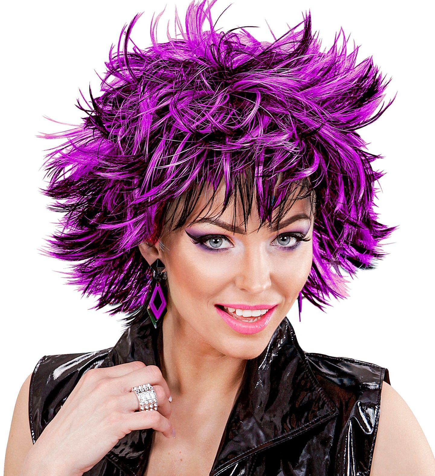 Zwart-paarse wilde disco pruik