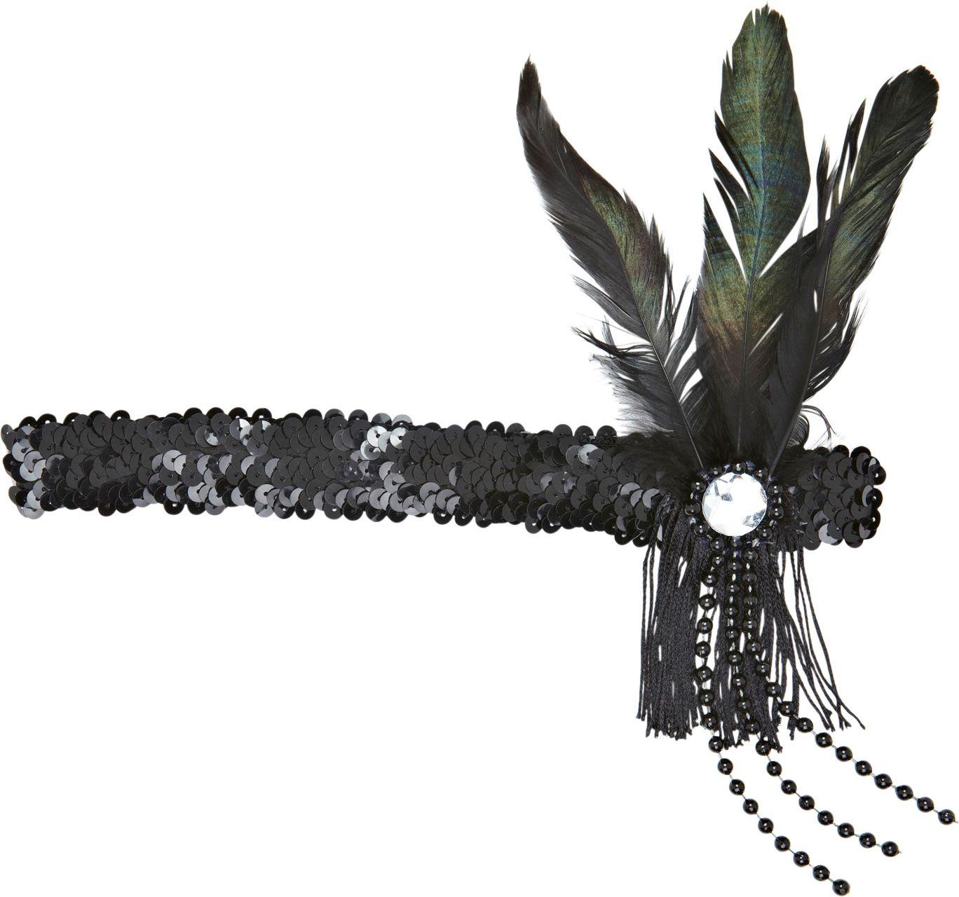 Zwart pailletten charleston hoofdband