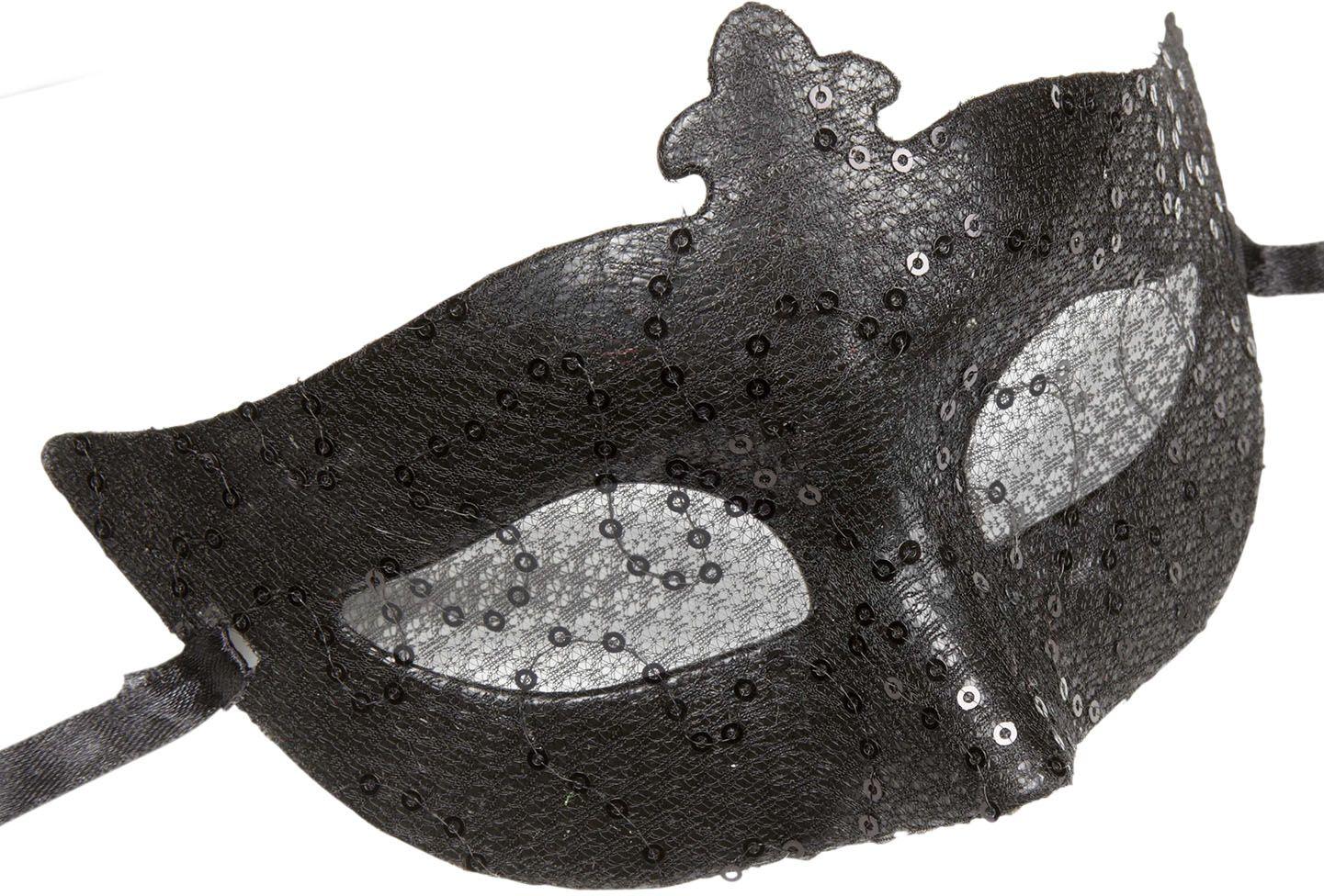 Zwart pailletten kanten oogmasker