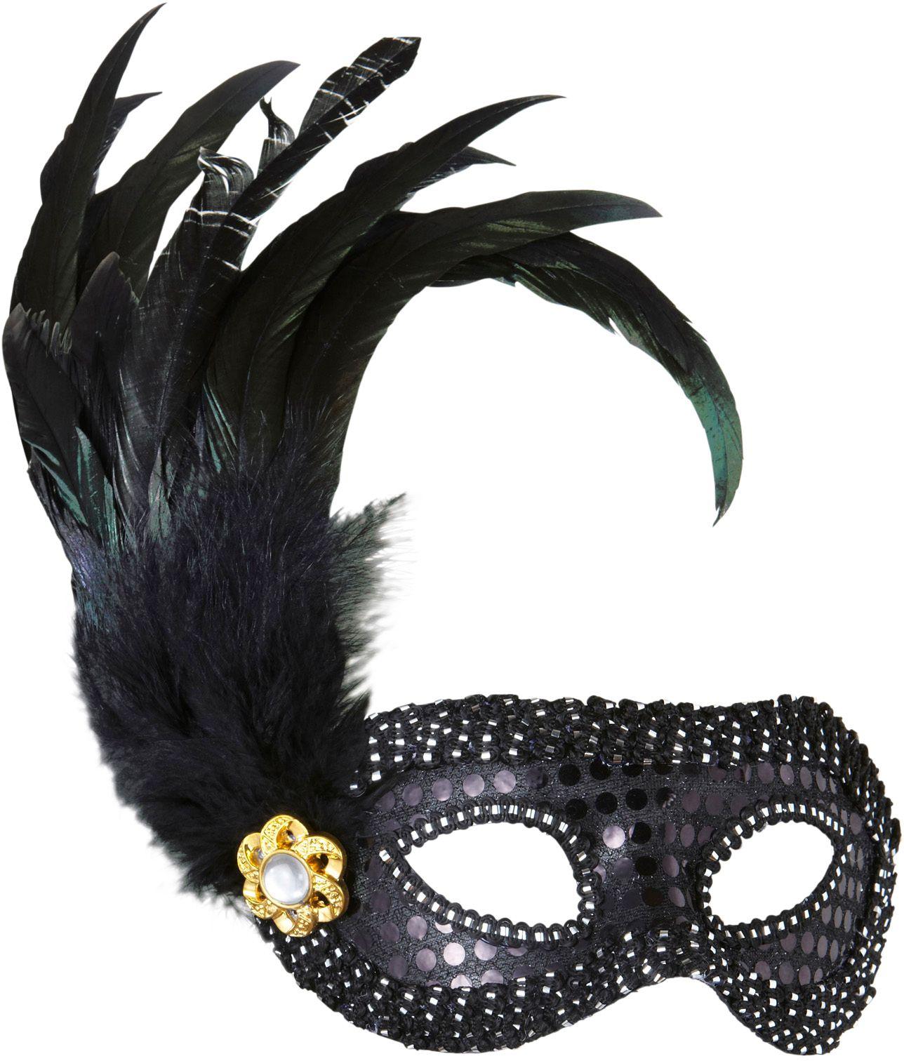 Zwart pailletten oogmasker met veren