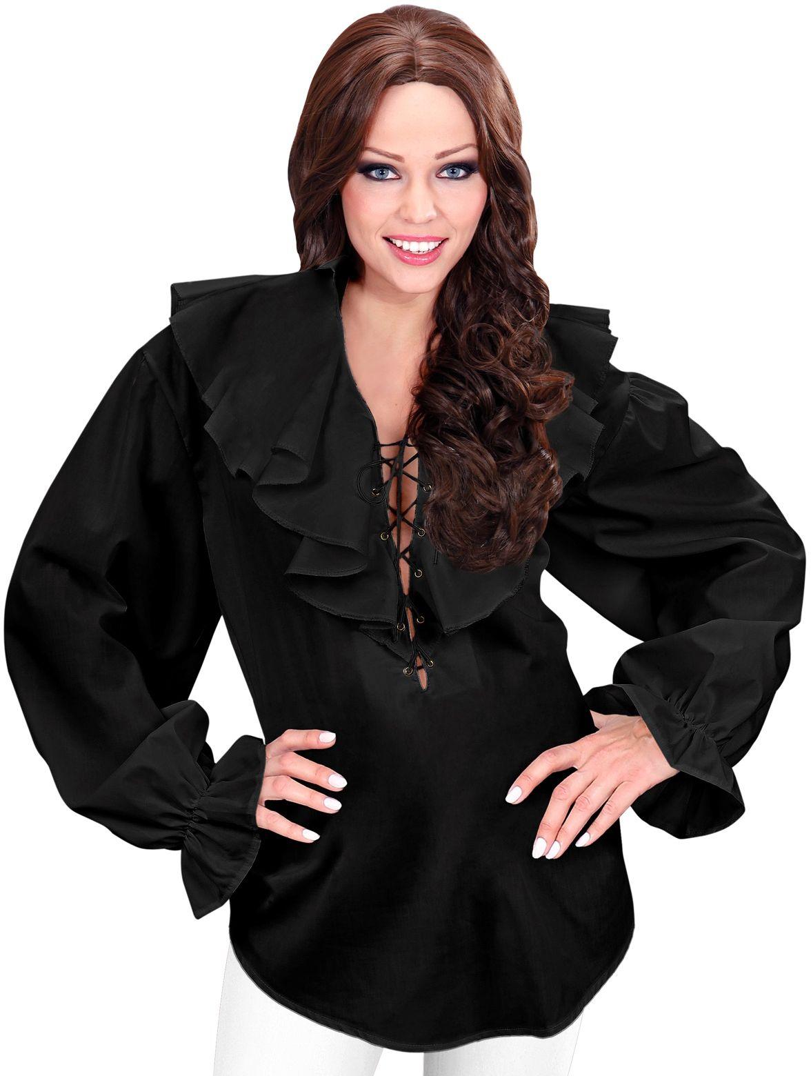 Zwart piratenshirt dames