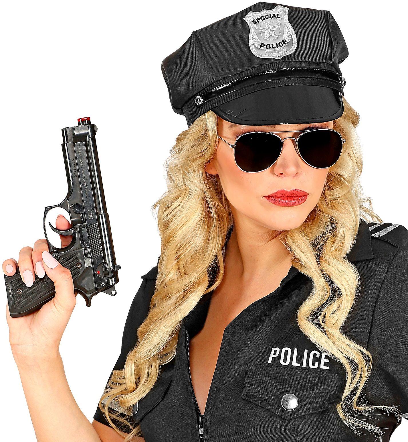 Zwart politie petje
