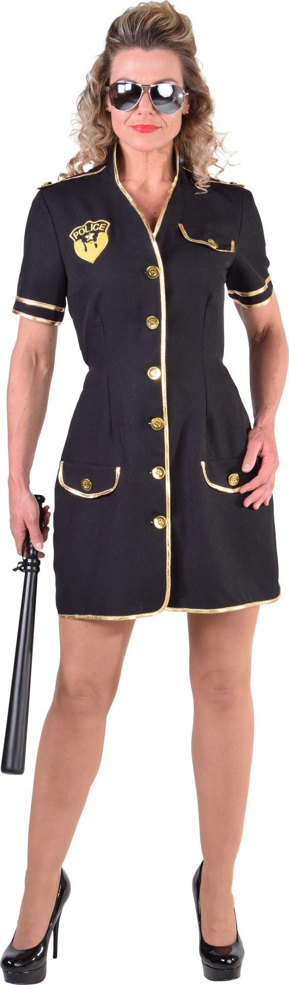 Zwart politievrouw kostuum