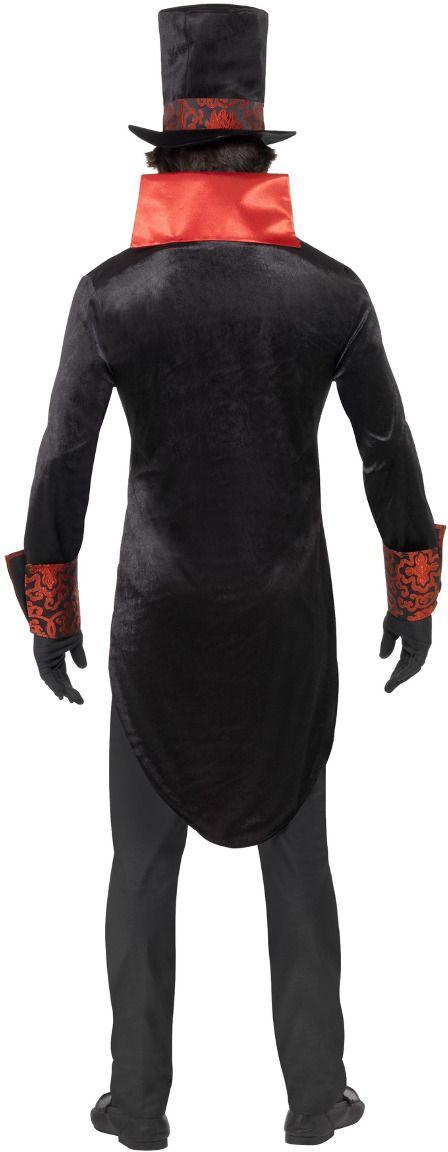 Zwart rode heren vampier kostuum