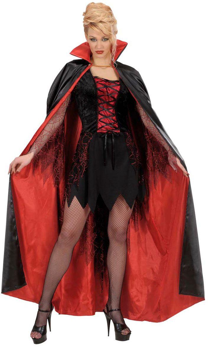 Zwart rode satijnen vampier cape
