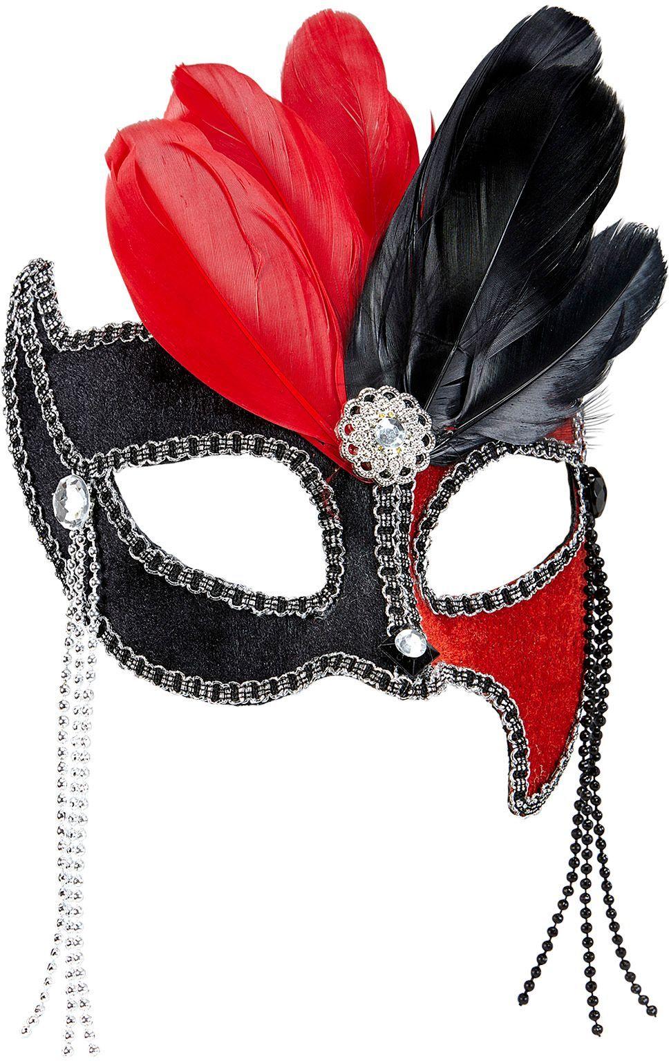 Zwart-rood gala oogmasker