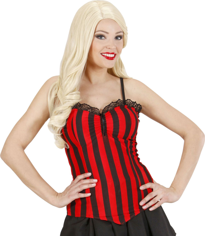 Zwart rood gestreepte corset