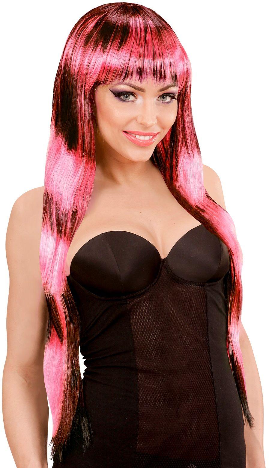 Zwart-roze gestreepte pruik lang haar