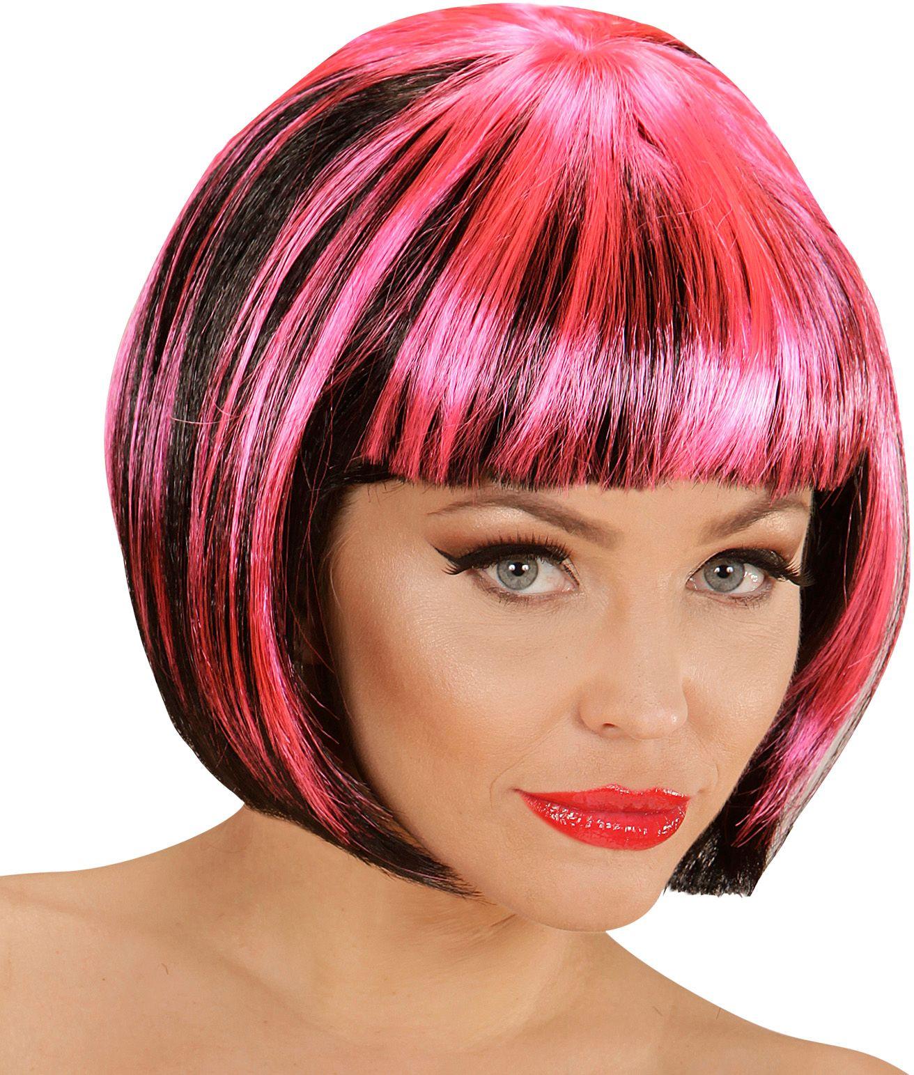 Zwart-roze nette disco pruik