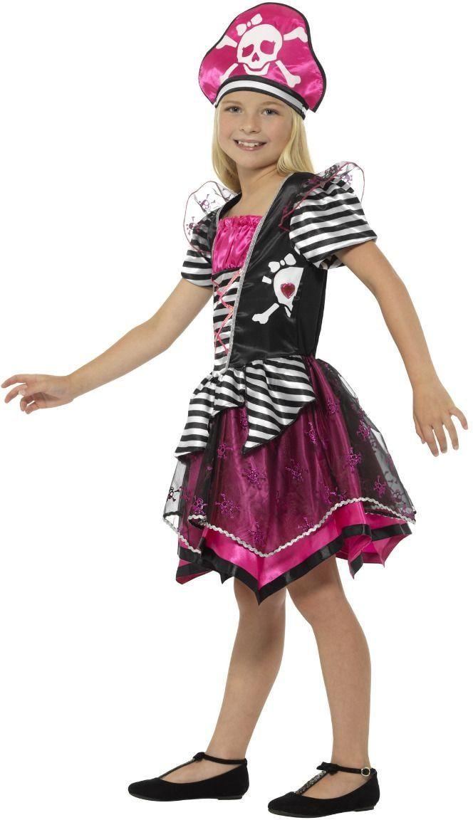 Zwart roze piraat meisjes kostuum