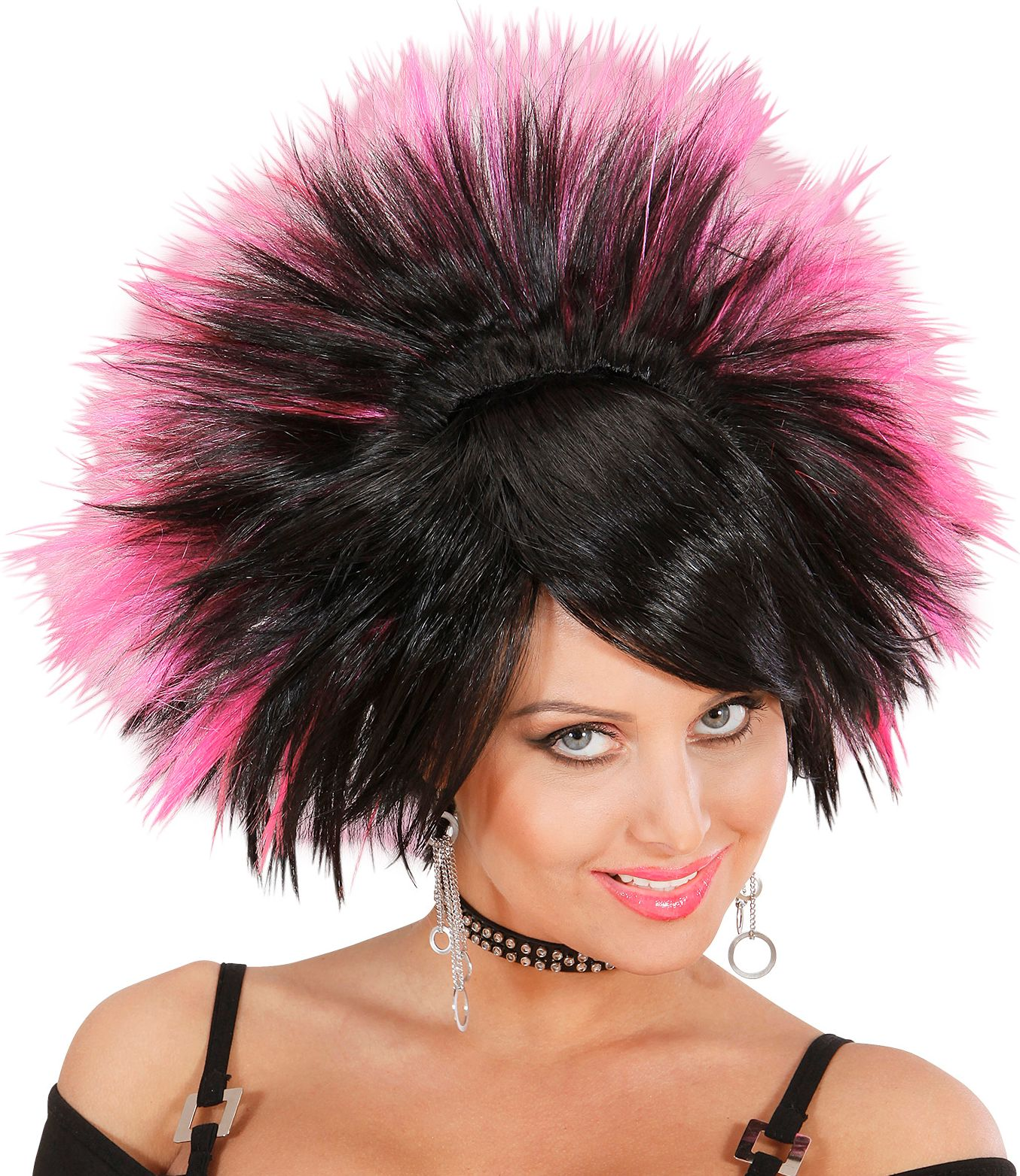 Zwart roze rock pruik
