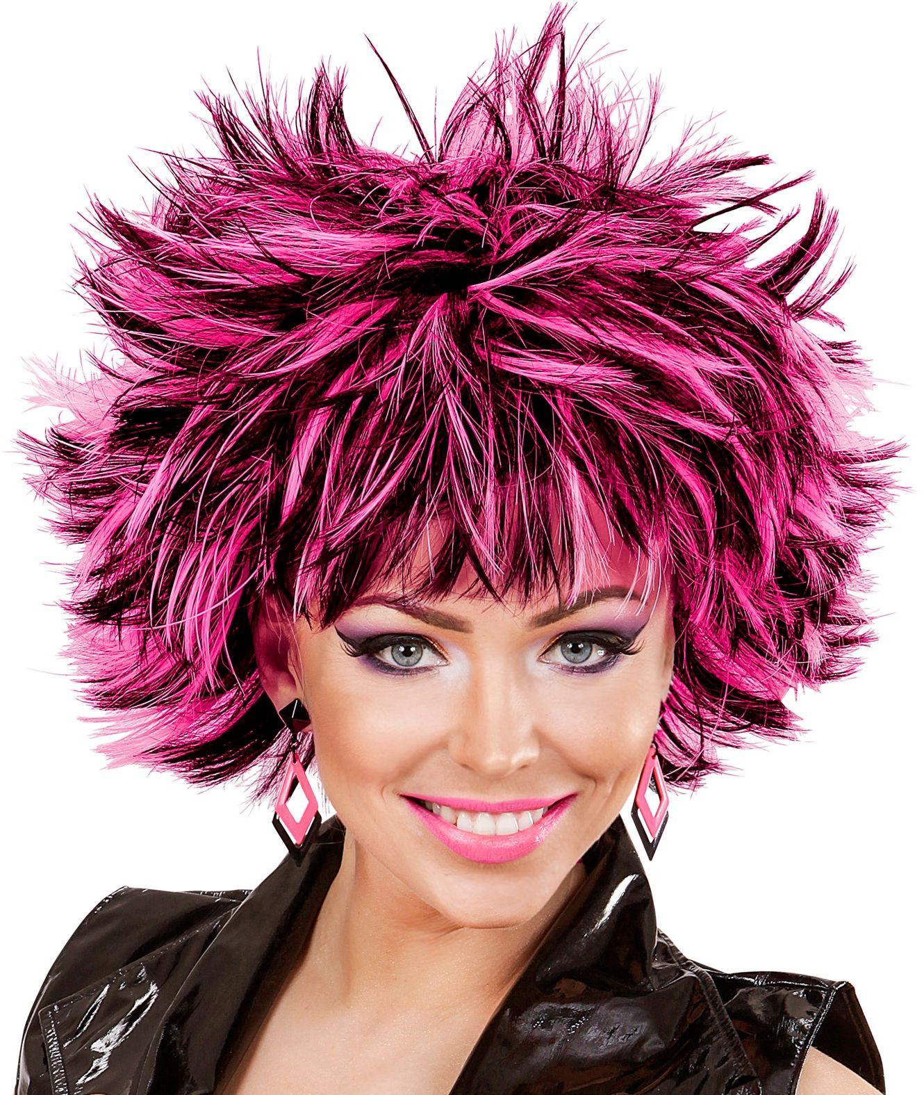 Zwart-roze wilde disco pruik