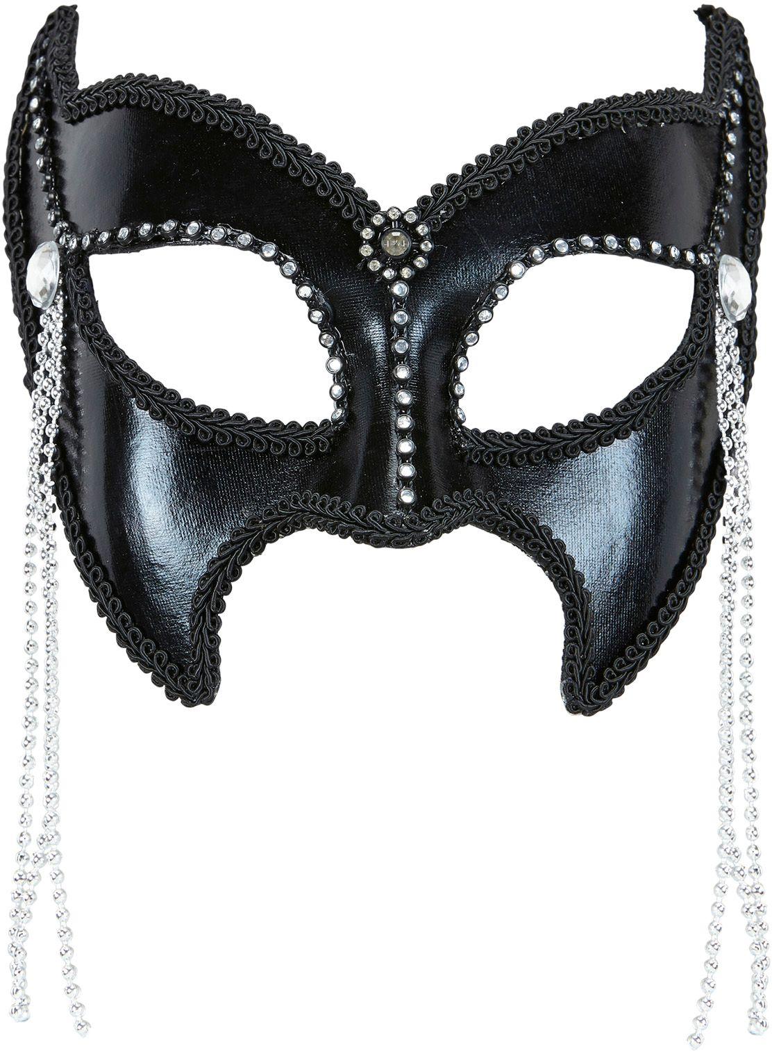 Zwart SM oogmasker met strass stenen