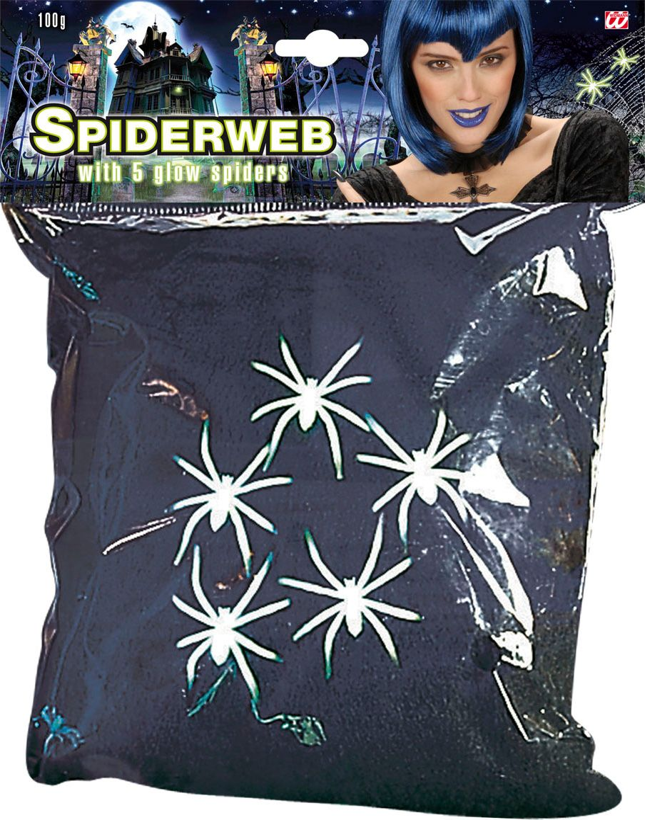 Zwart spinnenweb met 5 spinnen