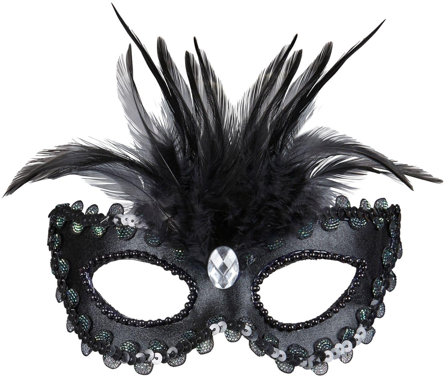 Zwart venetiaans oogmasker met veren