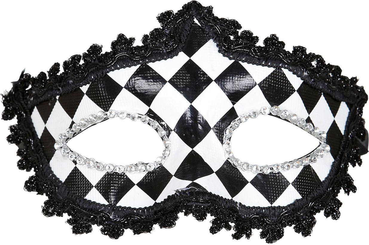Zwart-wit geblokt pierrot oogmasker