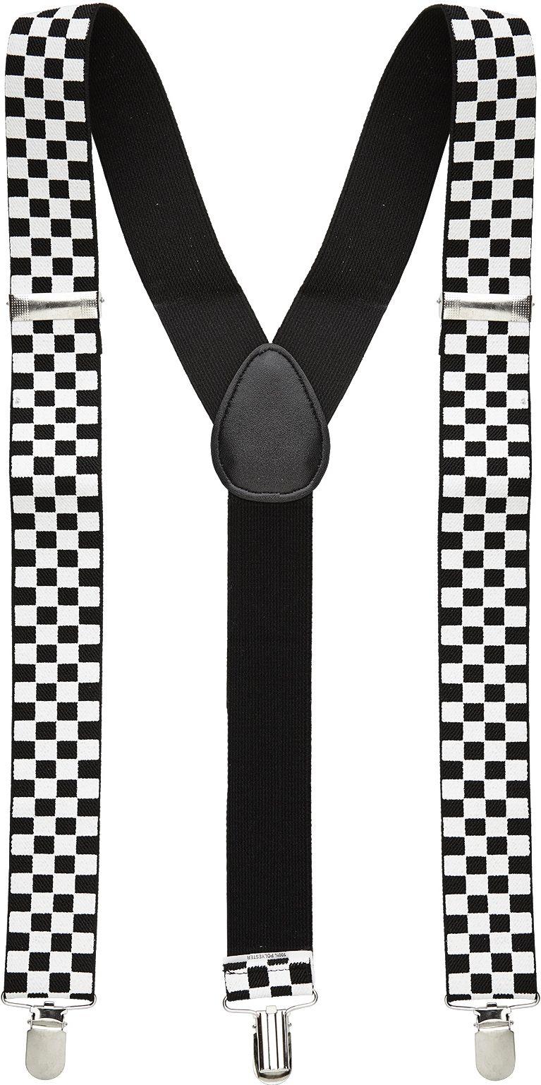 Zwart wit geblokte bretels